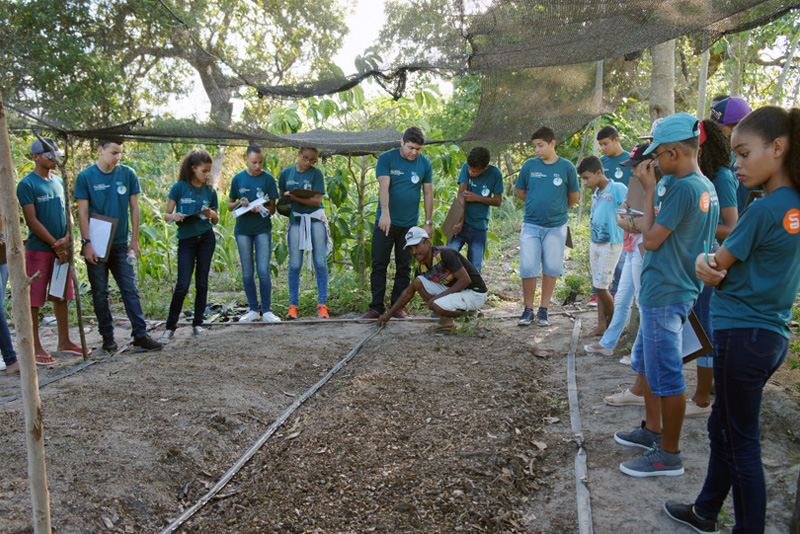 Agricultor mostra sistema de irrigação a alunos