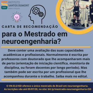 Quem faz a carta de recomendação para o mestrado em neuroengenharia